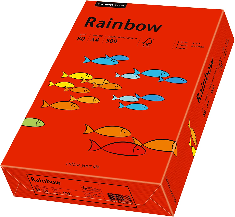 Papyrus 88042475 Drucker-/Kopierpapier farbig, Bastelpapier, Rainbow: 80 g/m² A4, 500 Blatt, matt, i