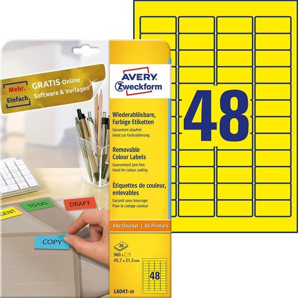 AVERY Zweckform L6041-20 Gelbe Etiketten (960 Aufkleber, 45,7x21,2mm auf A4, wieder rückstandsfrei a