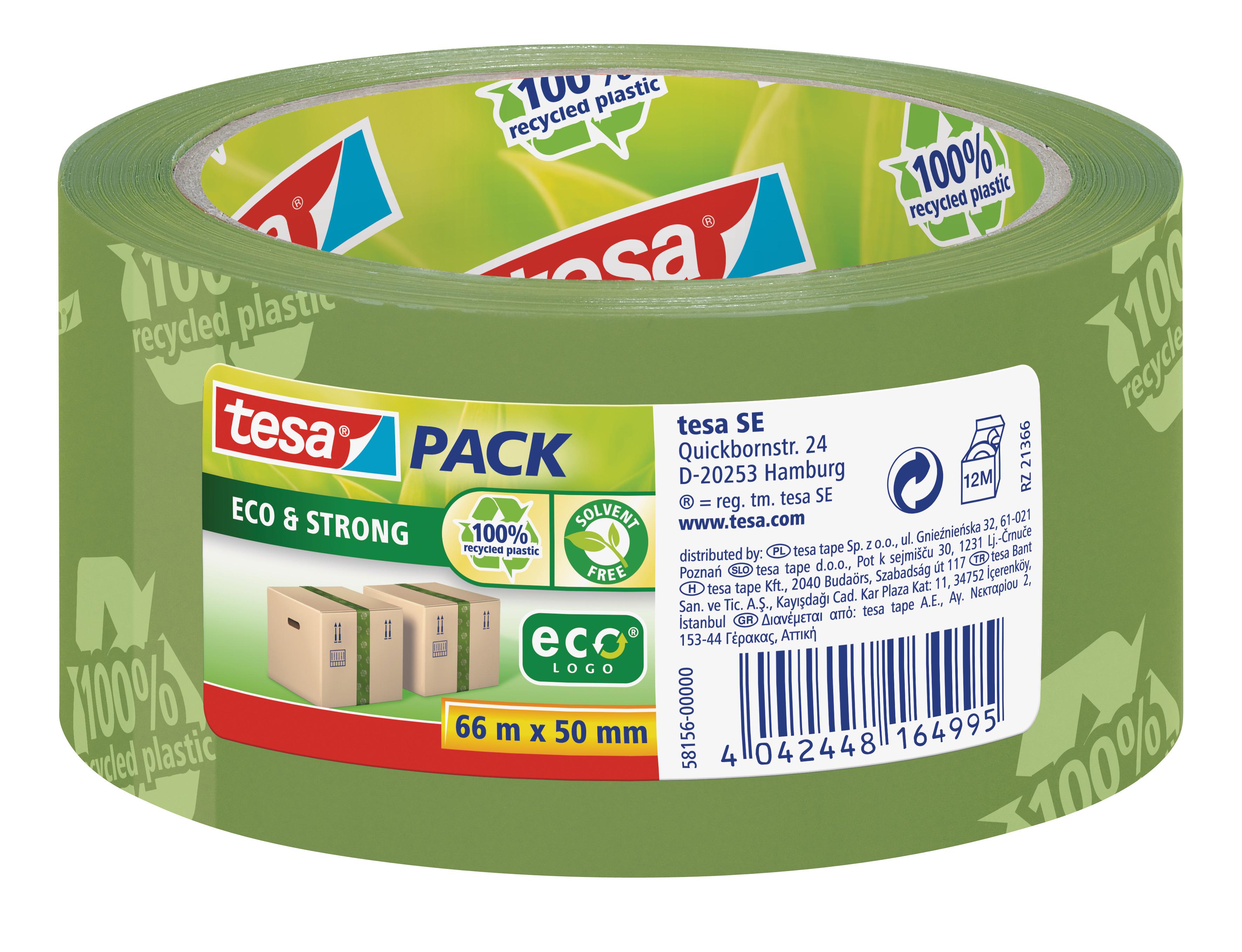 Vorschau: GP: 0,05 EUR/m tesa tesapack Eco & Strong 66m x 50mm grün ( bedruckt )