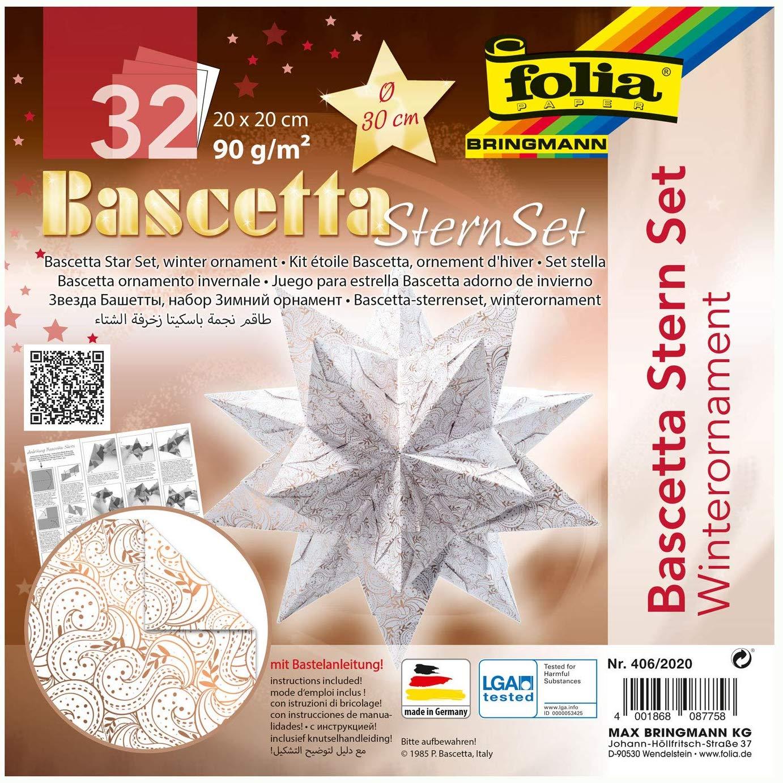 folia 406/2020 - Bastelset Bascetta Stern Winterornament weiß/kupfer, 32 Blatt, 20 x 20 cm, fertige