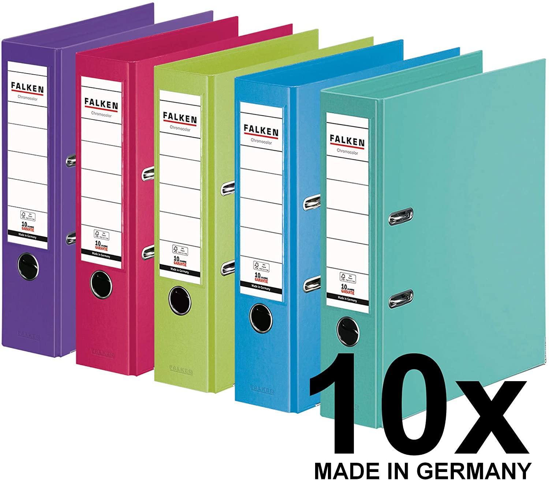 Original Falken 10er Pack Chromocolor Premium-Ordner. Made in Germany. Kunststoffbezug außen und inn