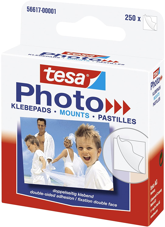 tesa Photo Klebepads - Beidseitig klebend zur Erstellung eines Fotobuches - 250 Stück
