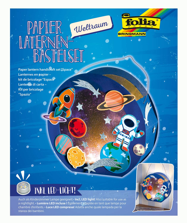 Folia 68103 Laternen-Bastelset, Weltraum, inklusive Laternenstab und LED Licht, bunt