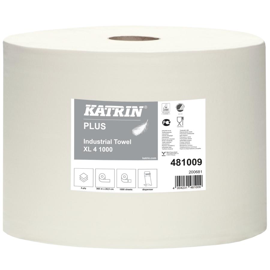 Vorschau: Katrin Wischtuch Plus XL 4-lagig 481009 26,5cm x 36mm weiß 1000 Blatt