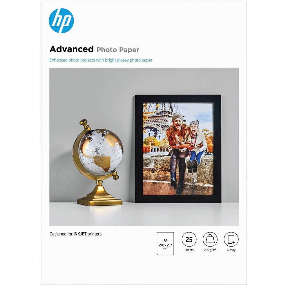 HP Q5456A Advanced Fotopapier hochglänzend, 250 g/m², DIN A4, 25 Blatt