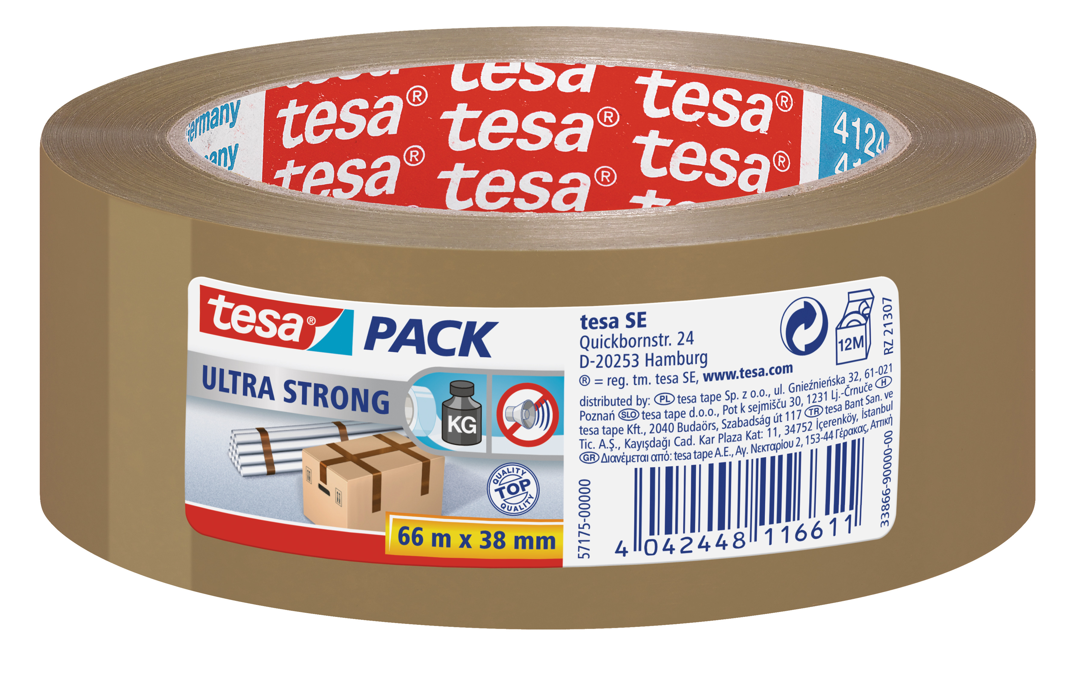 GP: 0,04 EUR/m tesa tesapack ultra strong, original braun ( PVC ) 66m x 38mm