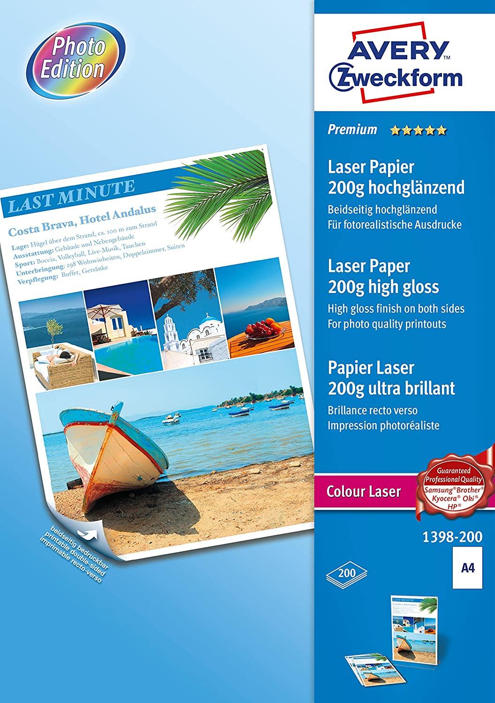 AVERY Zweckform 1398-200 Premium Colour Laser Papier (A4, beidseitig beschichtet, hochglänzend, 200