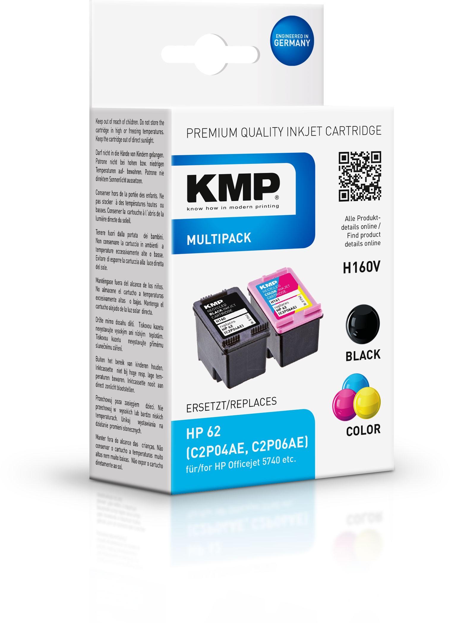 KMP Multipack H160V für HP 62 (C2P04AE, C2P06AE)