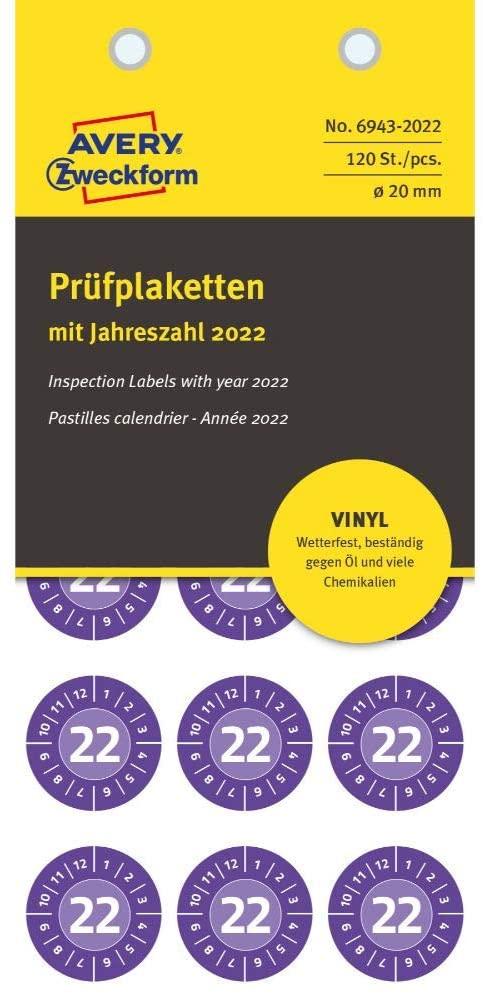 AVERY Zweckform 120 Stück Prüfplaketten 2022 (widerstandsfähig, stark selbstklebend, Ø 20 mm, Prüfau