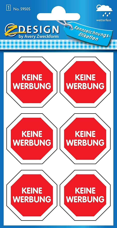 AVERY Zweckform 59505 Keine Werbung Etiketten rotes Schild (wetterfeste Folie) 6 Aufkleber