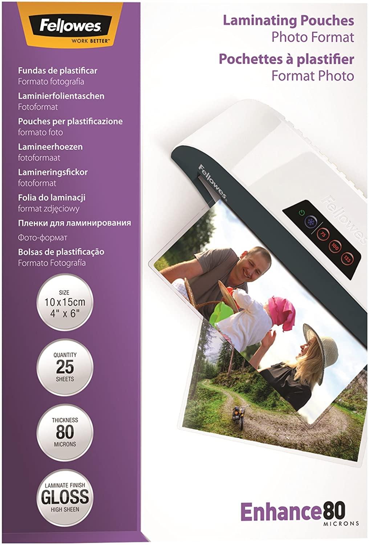 Fellowes Enhance Foto-Laminiertaschen 10 x 15 cm 80 Mikron 25 Stück 54406