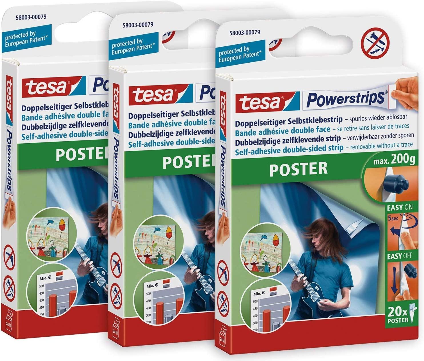 tesa 58003 3er Pack-Doppelseitige Klebestreifen für Poster und Plakate-Selbstklebend und mehrfach ve
