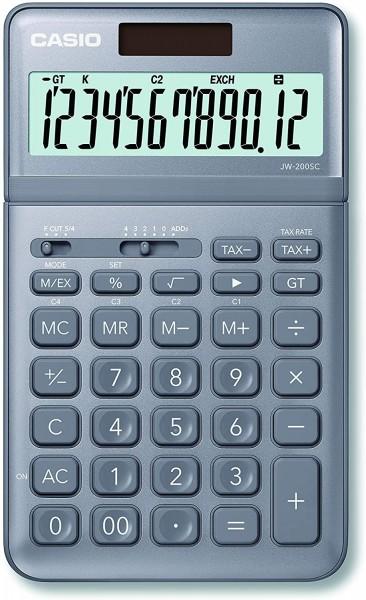 Casio JW-200SC-GY eleganter Tischrechner, 12-stelliges LC-Display mit Rechenbefehl-Anzeige, in siebe
