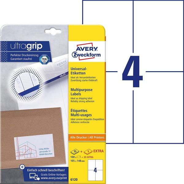 AVERY Zweckform 6120 Universal Etiketten (100 plus 20 Klebeetiketten extra, 105x148mm auf A4, Papier