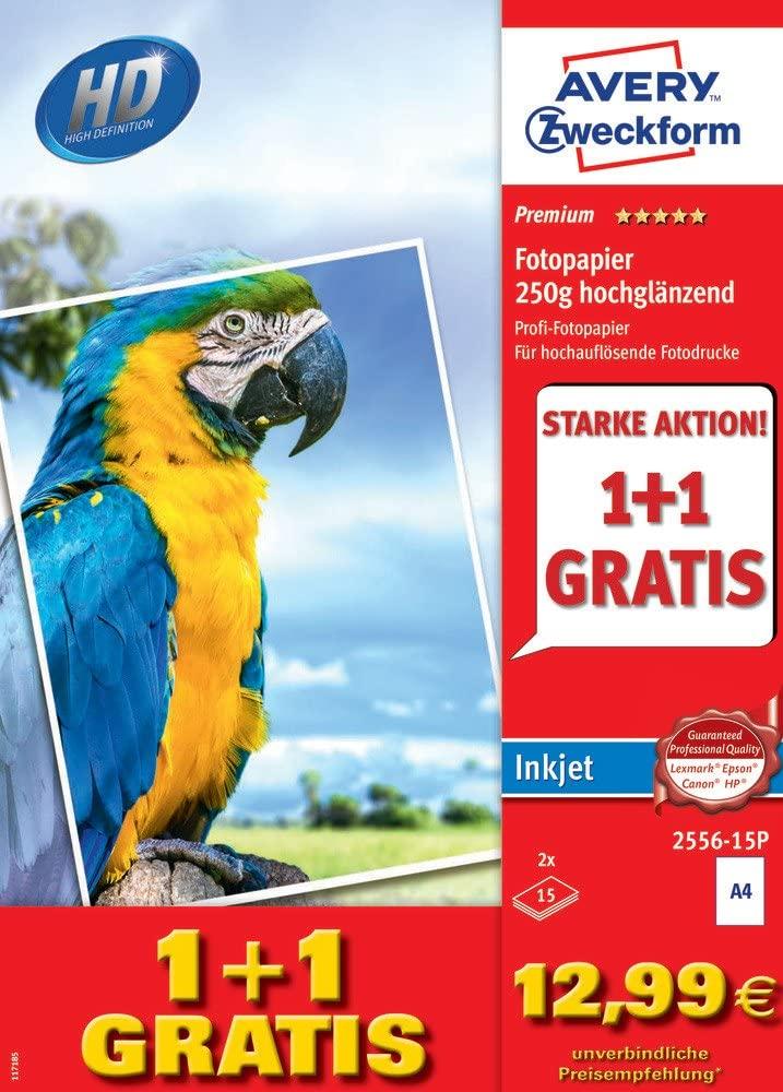 Avery Zweckform 2556-15P Premium Inkjet Fotopapier, DIN A4, einseitig beschichtet, 250 g/m², 30 Blat