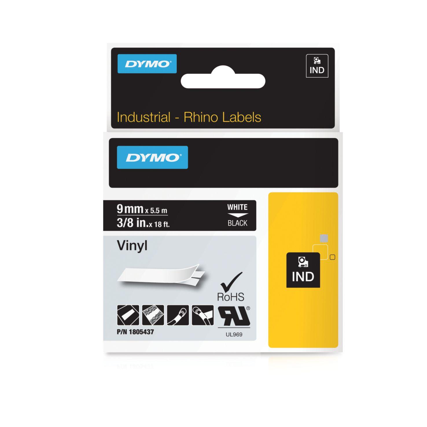 Dymo Rhino-Schriftband Vinyl 9mm x 5,5m weiß auf schwarz