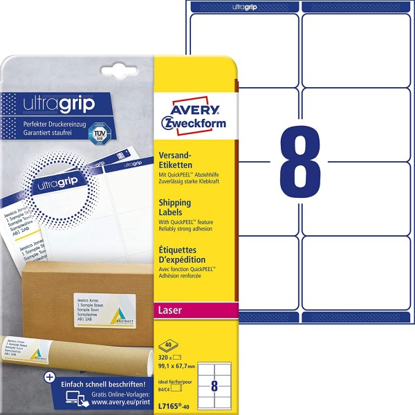 AVERY Zweckform L7165-40 Versandetiketten/Versandaufkleber (320 Etiketten mit ultragrip, 99,1x67,7mm