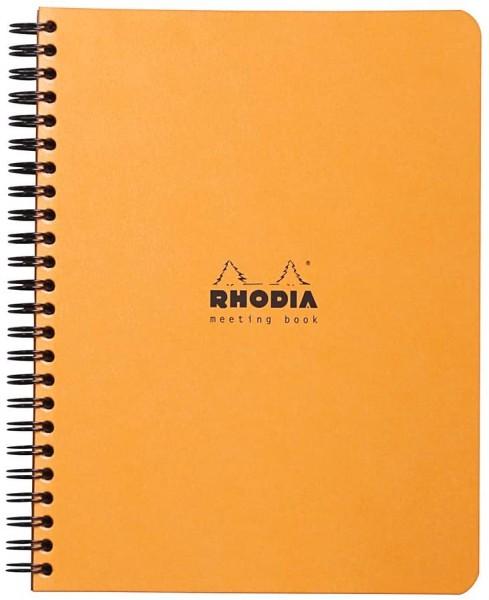 Rhodia 193418C Meeting Book (mit Spiralbindung, 14,8 x 21 cm, 80 Blatt) 1 Stück orange