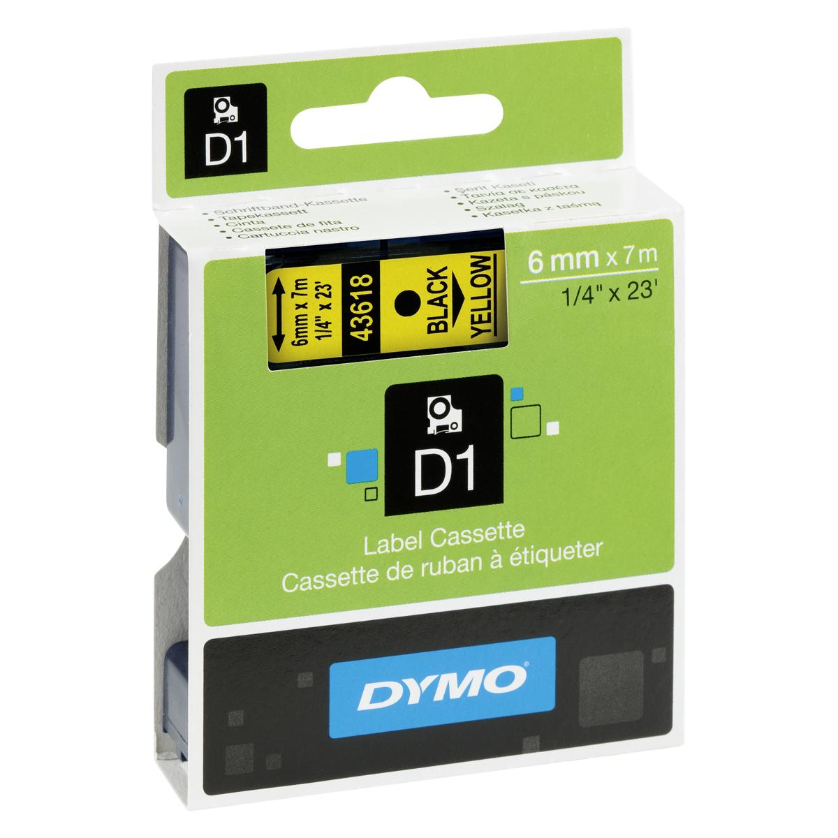 Dymo D1-Schriftband 19mm x 7m schwarz auf gelb