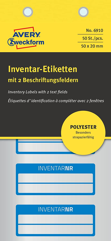 AVERY Zweckform 6910 Polyester Inventaretiketten (stark selbstklebend, strapazierbar, Kleinformat, 5