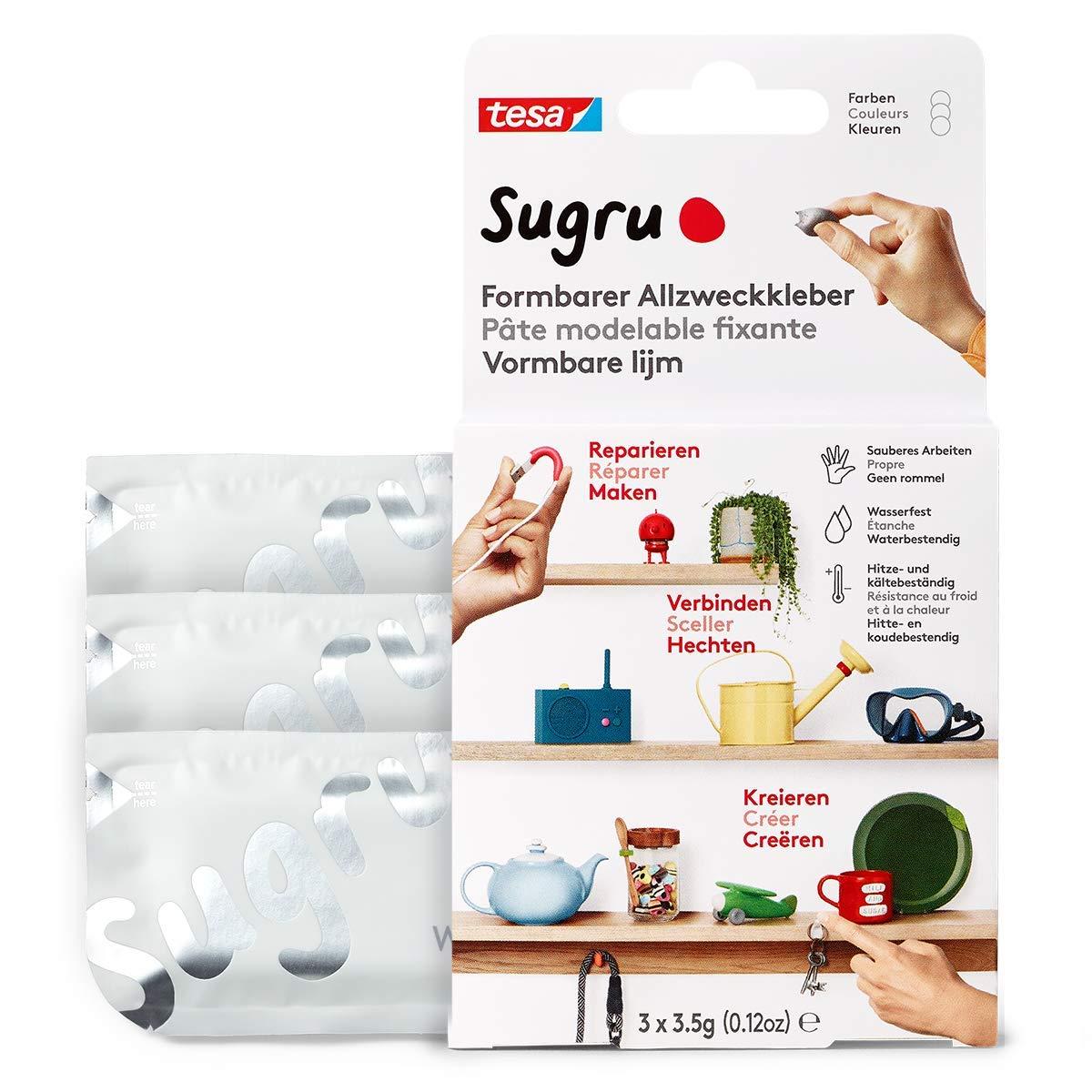 Sugru by tesa® - Formbarer Allzweckkleber, starker Allzweck-Klebstoff, 3er-Pack (3 x 3,5 g) in Weiß