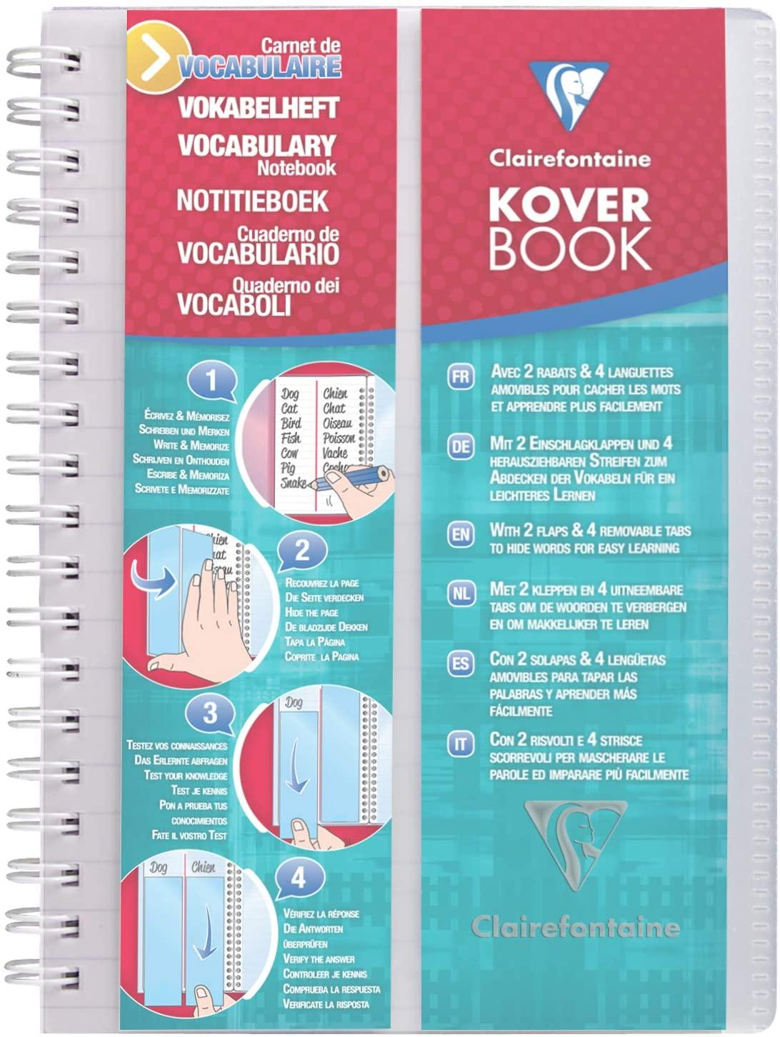 Clairefontaine 141820C Vokalbelheft Koverbook (liniert, 1 Mittelstrich, 11 x 17 cm, 50 Blatt, Deckel