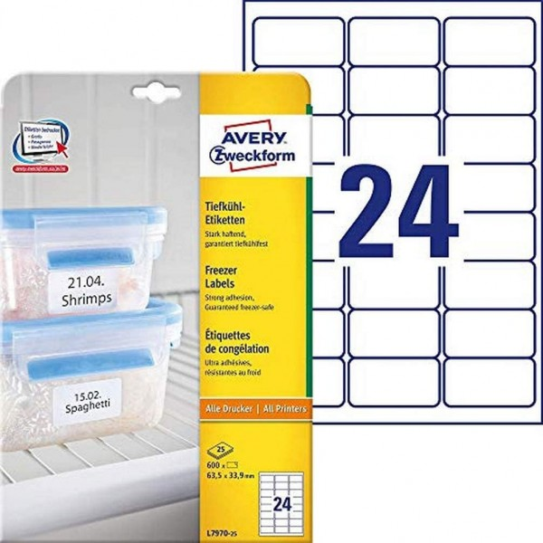 AVERY Zweckform L7970-25 Tiefkühl-Etiketten (63,5x33,9 mm auf DIN A4, selbstklebend, temperaturbestä