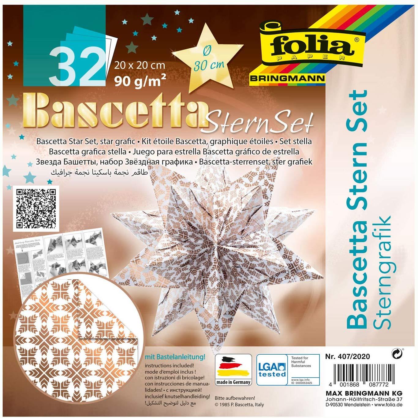 folia 407/2020 - Bastelset Bascetta Stern Sterngrafik weiß/kupfer, 32 Blatt, 20 x 20 cm, fertige Grö