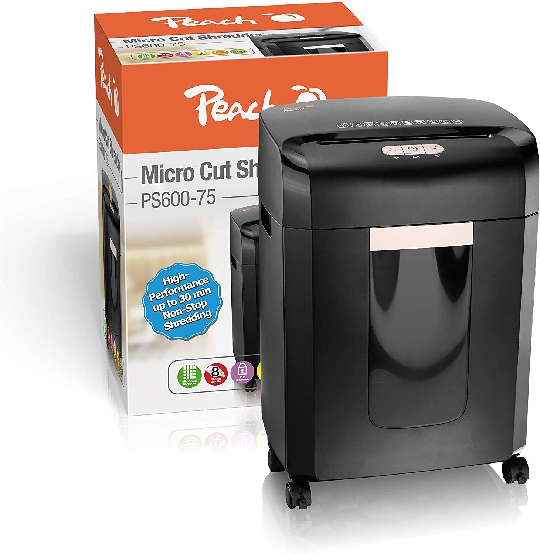 Peach PS600-75 Mikroschnitt Aktenvernichter   10 Blatt   16 Liter/290 DIN A4   2 x 15 mm Partikelgrö