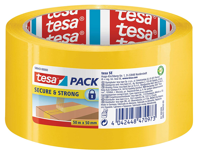 GP: 0,20 EUR/m Tesa 58643 Secure & Strong - gelbes Paketband mit Siegel-Effekt für einen sicheren Tr