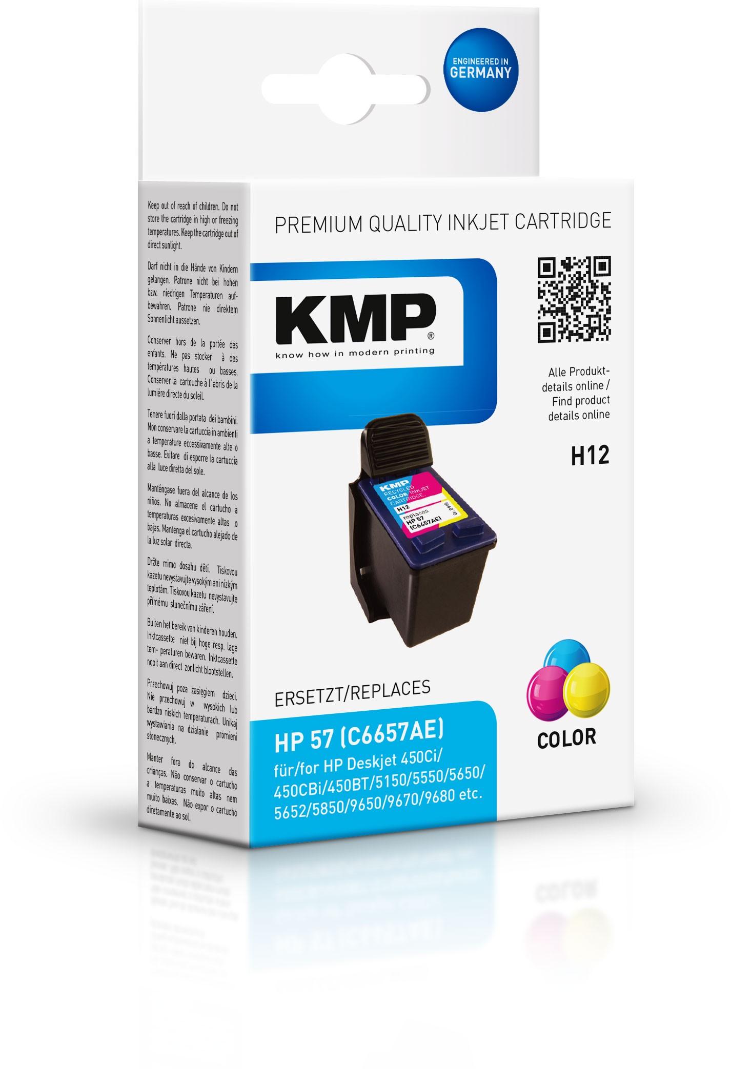 Vorschau: KMP Patrone H12 komp. zu HP 57 C6657AE DeskJet 5550 5850 color
