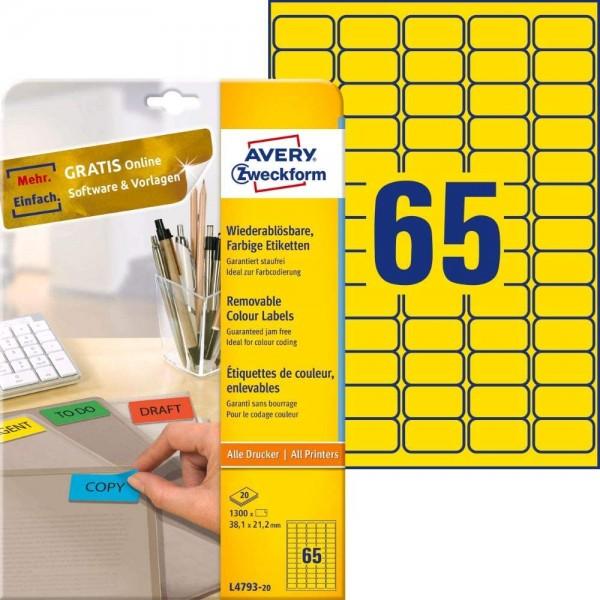 AVERY Zweckform L4793-20 Gelbe Etiketten (1.300 Aufkleber, 38,1x21,2 mm auf A4, wieder rückstandsfre