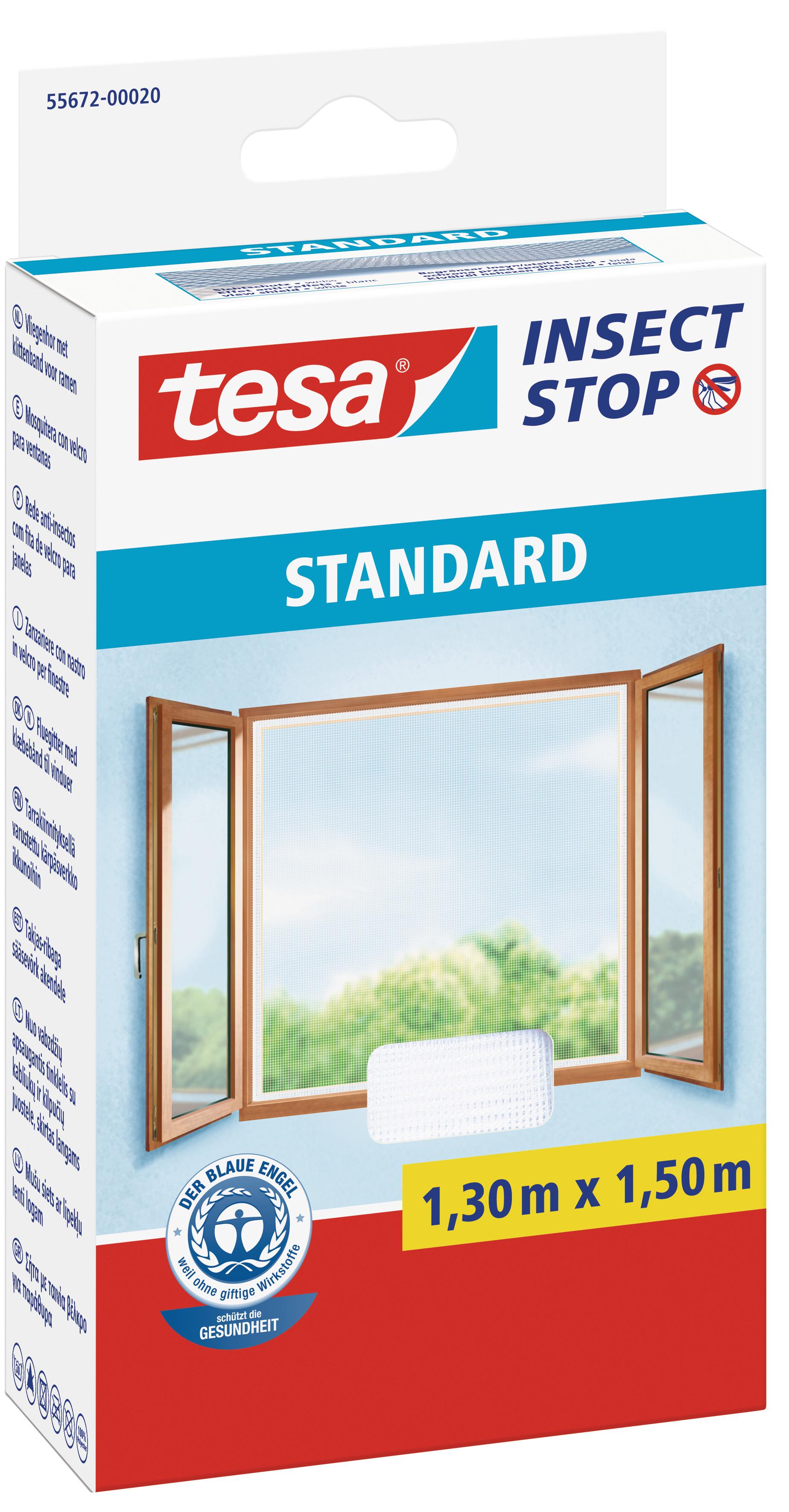 tesa Fliegengitter Standard Klettband für Fenster 1,3 m : 1,5 m, weiß