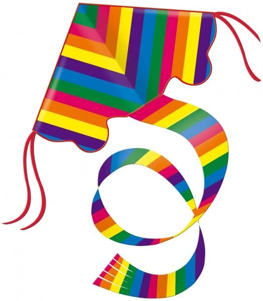 Paul Günther 1159 - Einleinerdrachen Rainbow, farbenprächtiger Drachen mit 1,5 m langem Schwanz, mit