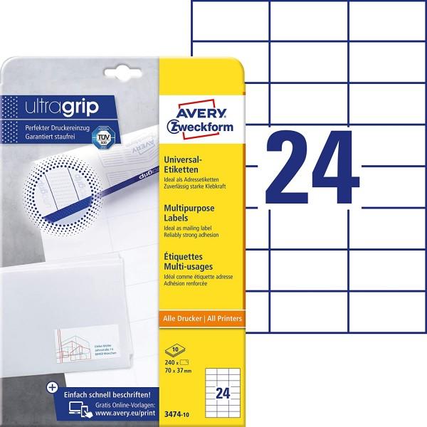 AVERY Zweckform 3474-10 Adressaufkleber (mit ultragrip, 70 x 37 mm auf DIN A4, Papier matt, bedruckb