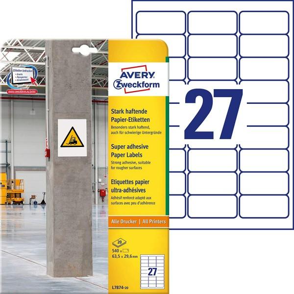 AVERY Zweckform L7874-20 Stark haftende Papieretiketten (63,5x29,6 mm auf DIN A4, extrem stark selbs