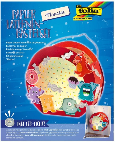 folia 68104 - Laternen - Bastelset, Monster, inklusive Laternenstab und LED-Licht