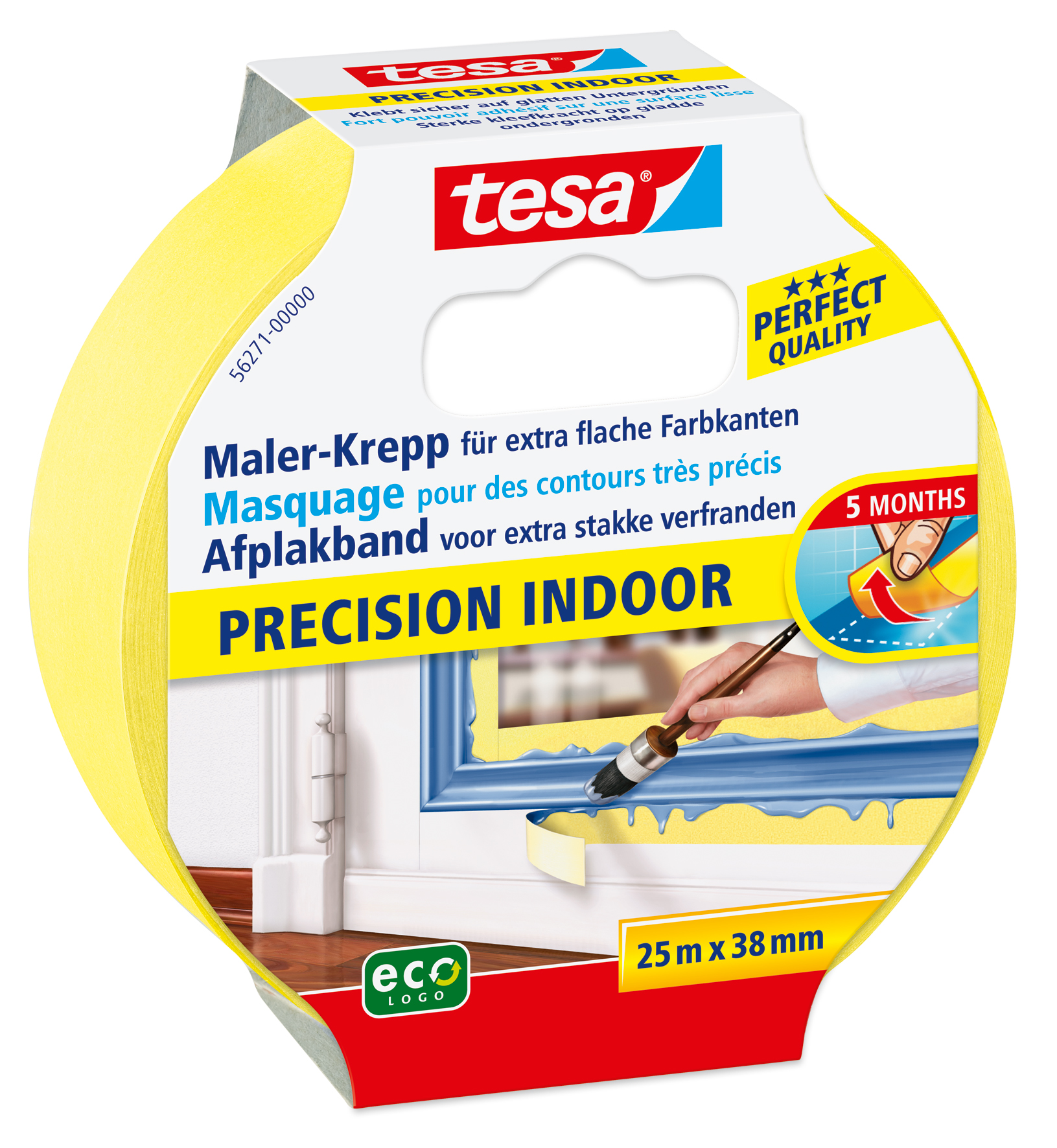 GP: 0,18 EUR/m 4 x tesa Maler-Krepp Precision Indoor 25 m x 38 mm