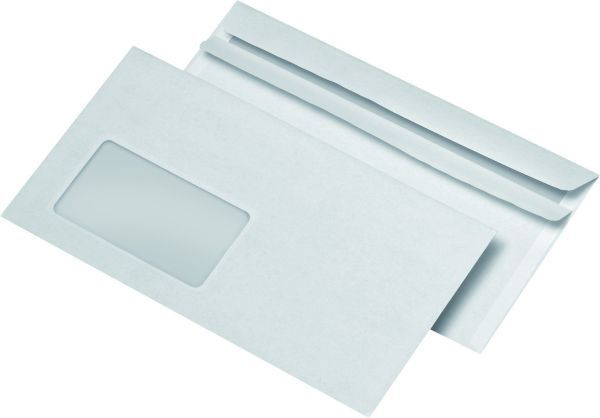 1000 Fenster-Briefumschläge DIN-lang DL selbstklebend 75g/m² SK weiß