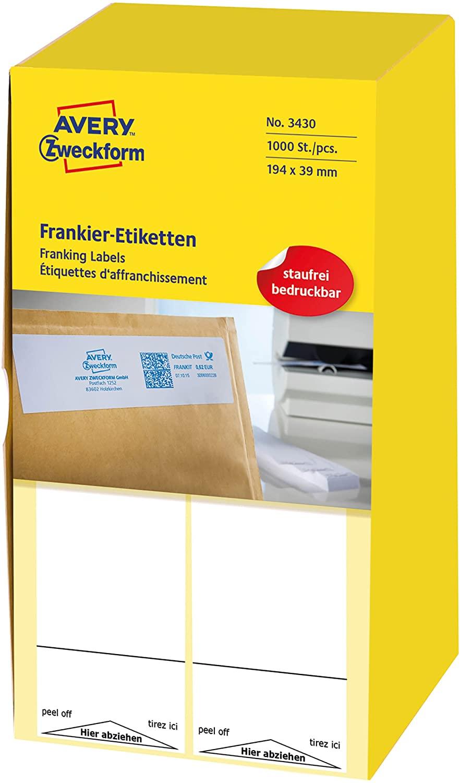 AVERY Zweckform 3430 Frankier-Etiketten (für Neopost, Papier matt, 194 x 39 mm) 1000 Stück weiß