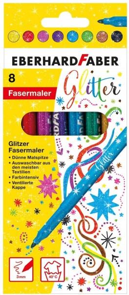 Eberhard Faber 551008 - Glitzer Fasermaler im Kartonetui, 8er