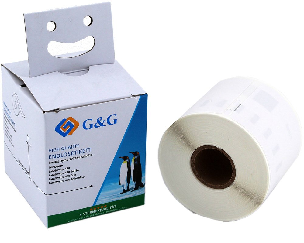 G&G Schriftband kompatibel zu Dymo D1/99014/S0722430 (220m auf 54mm x 101mm) schwarz auf weiß (perma