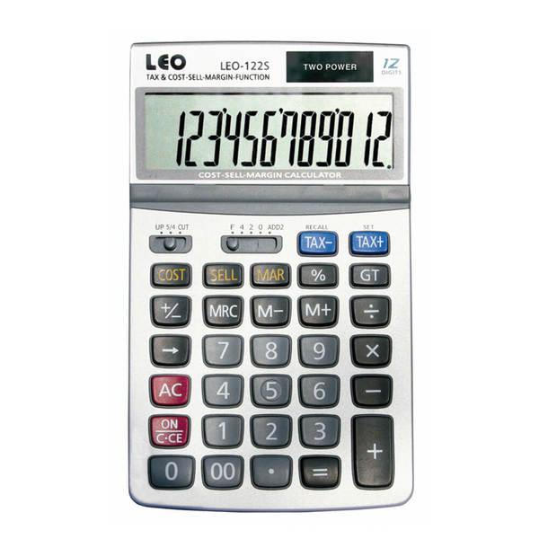 LEO 122S Tischrechner 12-stellig Solar und Batterie TAX silber