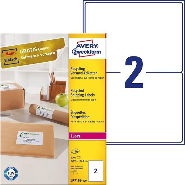 AVERY Zweckform LR7168-100 Recycling Etiketten (200 Versandetiketten, 199,6x143,5mm auf A4, 100% rec