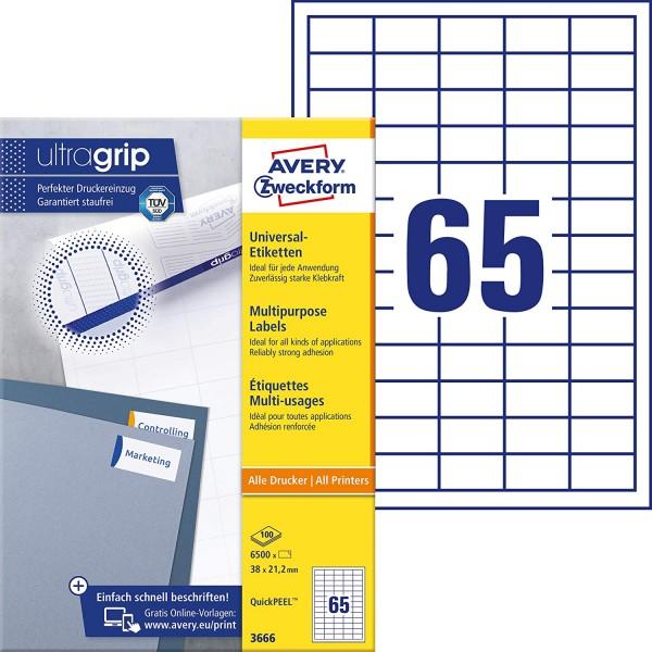 AVERY Zweckform 3666 Universal Etiketten (6.500 Klebeetiketten, 38x21,2mm auf A4, Papier matt, indiv
