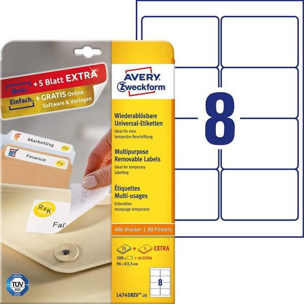 AVERY Zweckform L4745REV-25 Universal Etiketten (200 plus 40 Klebeetiketten extra, 96x63,5mm auf A4,