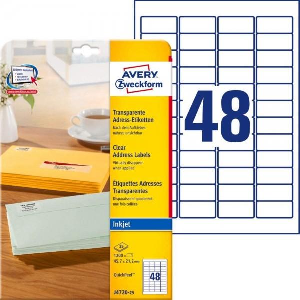 AVERY Zweckform J4720-25 Adressetiketten/Adressaufkleber (1.200 Etiketten, 45,7x21,2mm auf A4, bedru