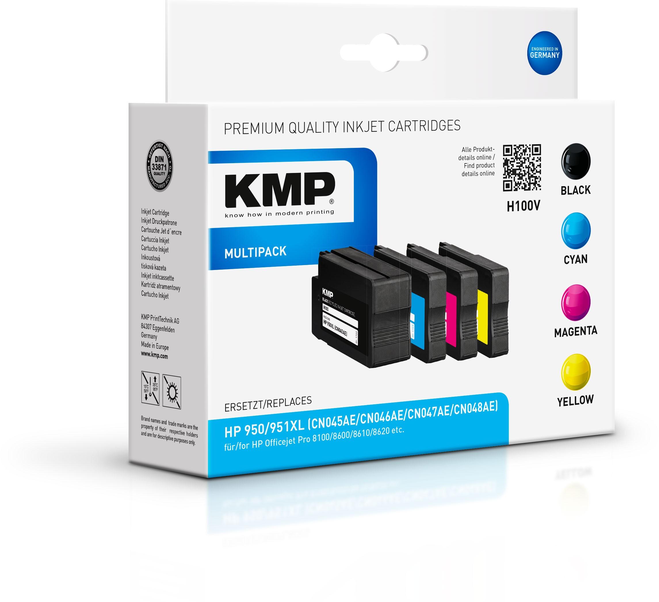 KMP Multipack H100V für HP 950XL 951XL zu Officejet Pro 8600 etc.