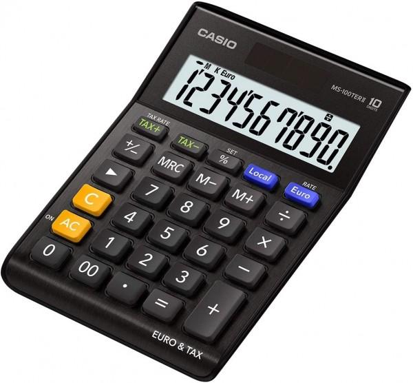 Casio MS-100TERII-BK Euro Tischrechner 10-stellig, extra big LC-Display schwarz