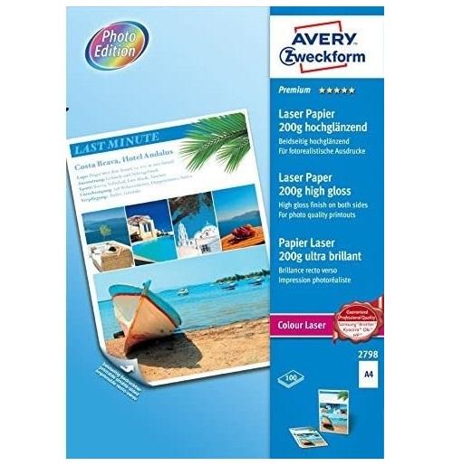 AVERY Zweckform 2798 Premium Colour Laser Papier (A4, beidseitig beschichtet, Seidenglanz, 200 g/m²,